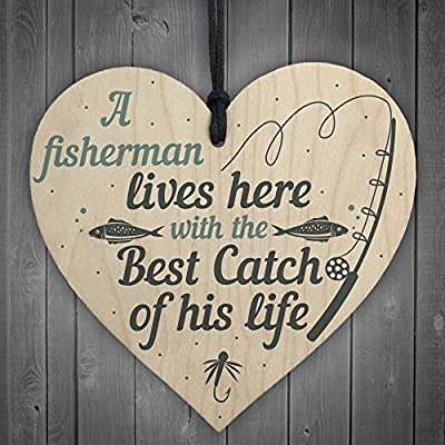 RED OCEAN Grandad Lives Here CARP Fishing Wooden Sign Plaque Fathers Day Dad Gift Best Friend Birthday Present