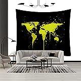 Tapiz, tapiz de patrón de mapa del mundo, dormitorio tapiz de...