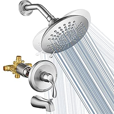HOMELODY Shower Faucet Set with Valve Brushed Nickel Tub Shower Set Shower Trim Kit with 6 Inch Spray Shower head 5-Function Single-Handle Wall Mount Shower System