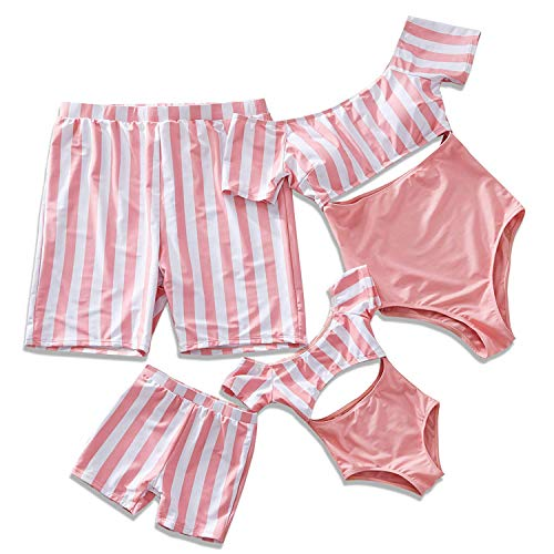 IFFEI Family Matching Swimwear One Piece Bathing Suit Striped Hollow Out Monokini Mommy and Me Beachwear Men: M Pink