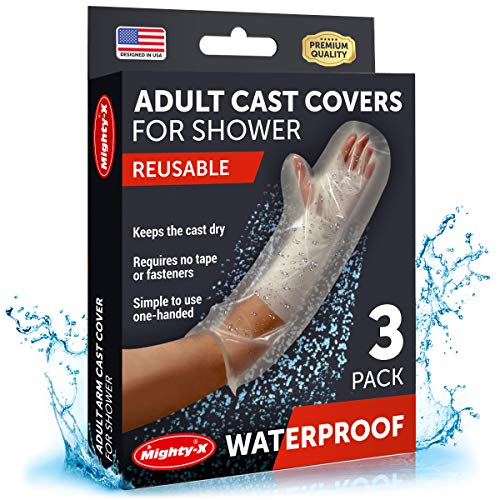 【2020 Upgraded】Waterproof Cast Cover Arm - 100% Reusable - Watertight Seal - Adult Cast Covers for Shower Arm, Wrist & Hand - 3 Pack