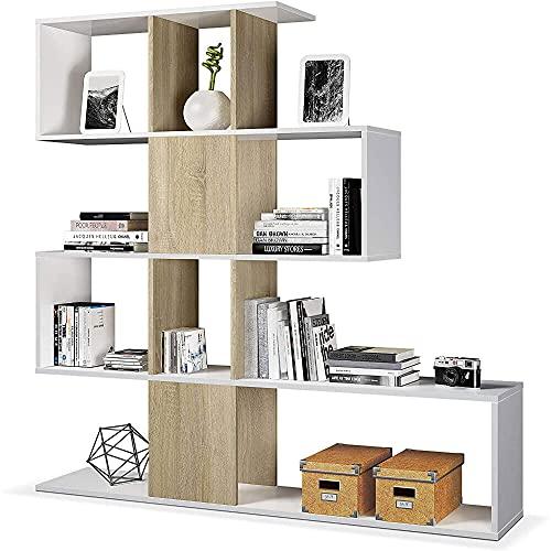 giordano shop Mobile a Scaffali Libreria 4 Livelli 145x145x29 cm in Legno Zig Zag Bianco e Rovere