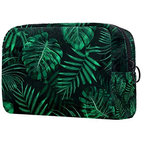 Bolsa de brochas de maquillaje personalizable, portátil, bolsa de aseo para mujer, organizador de viaje, follaje, patrón de hojas verdes