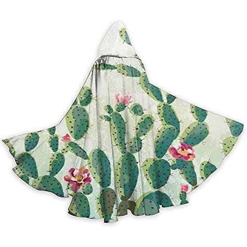 Süße Sukkulenten Kaktus Muster Erwachsene Tunika Kapuzenritter Halloween Mantel Robe Kostüm Weihnachten, 59 Zoll (150,40 cm)