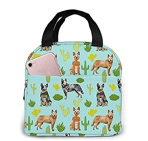 Lunch Bag Australian Cattle Dog Blue And Red Heelers Cactus Blue Tint Lunch Box Insulated Bag Tote Bag For Men/Women Work Travel