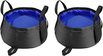 LIOOBO 2 Pcs 8.5L Portable Collapsible Basin Foot Wash Bucket Outdoor Camping Travel Bubble Water Bag Travel Laundry Wash Basin Home Supply (Royal Blue)