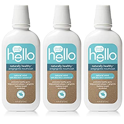Hello Oral Care Naturally Healthy Antigingivitis Fluoride Free and SLS Free Mouthwash with Aloe Vera and Coconut Oil, 3 Count