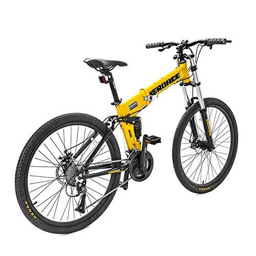 NENGGE 26 Pulgadas Bicicleta Montaña Plegable para Hombre Mujer, Ligero Adulto 27 Velocidades Hard Tail Bicicleta con Doble Suspensión, Doble Freno Disco & Cuadro Aleación de Aluminio,Amarillo