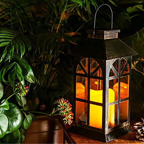 Solar Laterne für außen - mit hell flackernder LED Kerze - Tisch- und Hängelampe - in- und outdoor - extra Metall Laterne im Antik-Stil - dunkles Bronze - PVC fenster - wetterfest - 14x14x28cm