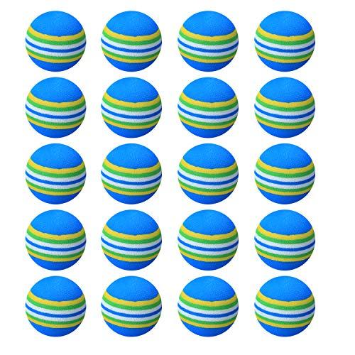 20 pelotas de golf de práctica, para interiores y exteriores, pelotas de golf, bolas de espuma de juguete para juegos infantiles, bolas de golf suaves de color arcoíris