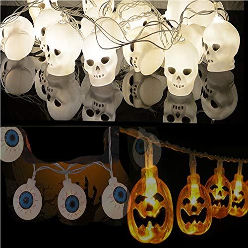 AAERP Halloween Deco oogappel Halloween skelet LED pompoen lichtketting, werkt op batterijen, 3D LED-strip, verlichting voor Kerstmis, festivals, feesten