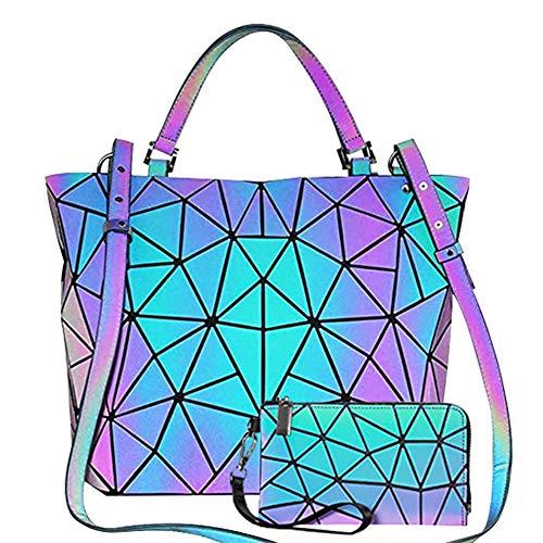 GUIFIER Bolsa luminosa - Cambios De Color Monederos - Bolsos Luminosos Geométricos Monedero Holográfico Monedero Reflectante Bolsas de Hombro