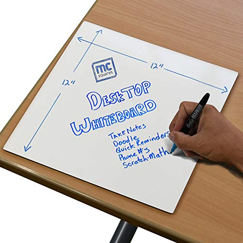 mcSquares Surfaces - Desktop Dry-Erase Board for Scratch Note Taking - 12in Small Square Rigid Whiteboard Pad Desk Accessory - Keep Your Thoughts Organized and Table top Free of Paper!