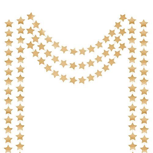 Honbay 2PCS Double Side Glitter Paper Star Garland Christmas Galaxy Banner Christmas Garland - 4 inch in Diameter,13 Feet Long/PCS (Gold)