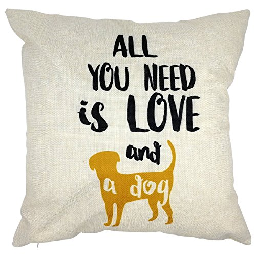 Arundeal Decorative Throw Pillow Case Cushion Cover, 18 x 18 Inches, with Saying All You Need is Love and A Dog Yellow Puppy for Dog Lover Gift Bed Sofa Couch Decor