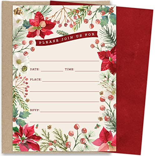 Koko Paper Co Christmas Invitations. Set of 25 Fill-in Invitations with Kraft Envelopes. Perfect for Holiday Parties, Dinners, Baby Showers or Other Events.