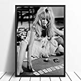 JYWDZSH Leinwanddruck Schwarz Weiß Brigitte Bardot Mode