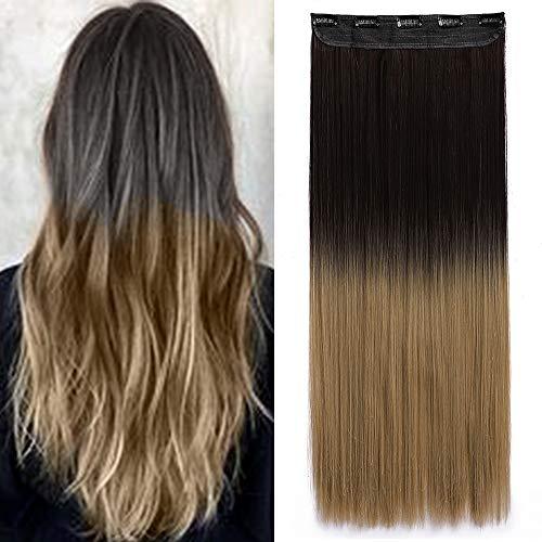 Elailite Extension Clip Capelli Lisci 65cm Fascia Unica Clip in Hair Sintetici Shatush Head Ciocca Larga 25cm Pesa 120g, Marrone a Biondo Cenere