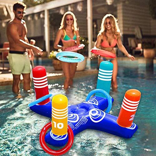 Ringwurfspiel, Schwimmbad Aufblasbare Wurfspiel, Pool Spiele Aufblasbares Ring Wurf Spiel Set Erwachsene Kinder Outdoor Indoor Spiele Partyspiele Partyhüte mit 4 Ringe für Sommer Camping Party