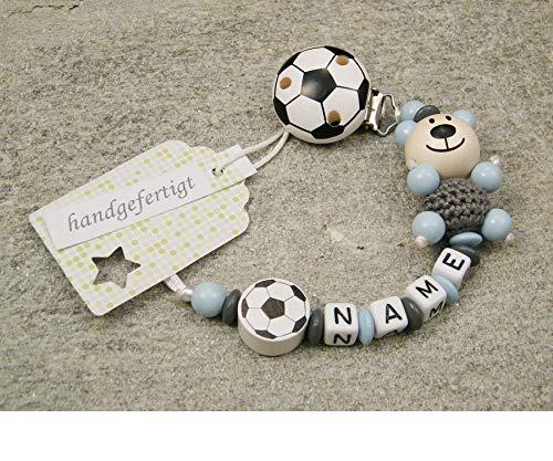 Baby SCHNULLERKETTE mit NAMEN - Schnullerhalter mit Wunschnamen - Jungen Motiv Bär und Fussball in grau