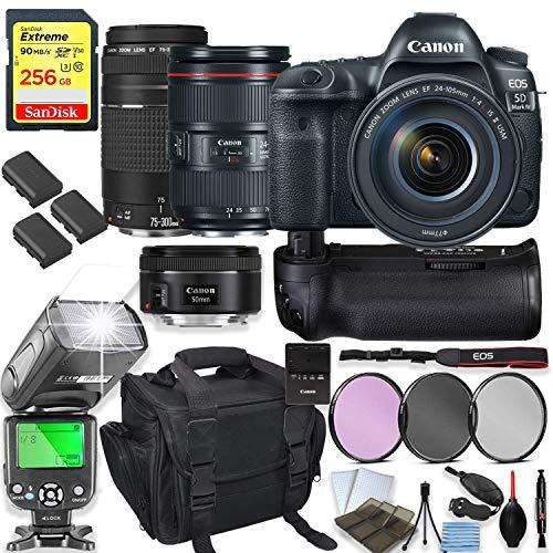 Canon EOS 5D Mark IV DSLR Camera with 24-105mm f/4L II Lens Kit + 75-300 III & 50mm f/1.8 STM Lens + 256GB Sandisk Memory, TTL Speedlight Flash (Good Upto 180 Ft), Power Grip + Holiday Special Bundle