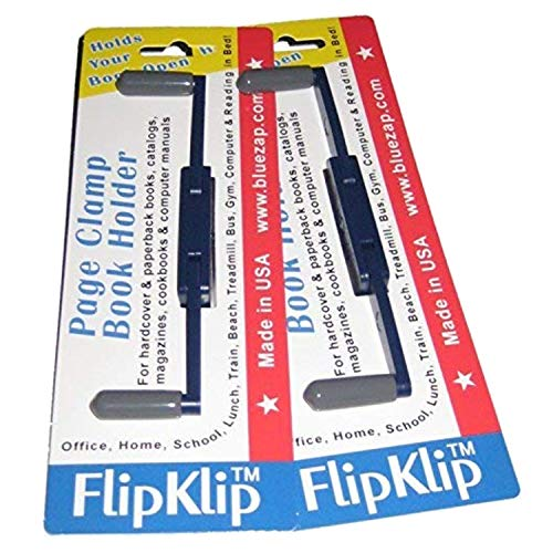 FlipKlip Portable Book Page Holder for Hands Free Reading in Bed, on The Go, on The Treadmill & Exercise Bike - Works on Hardcovers, Paperbacks, Magazines, and Comic, Art, Piano and Recipe Books