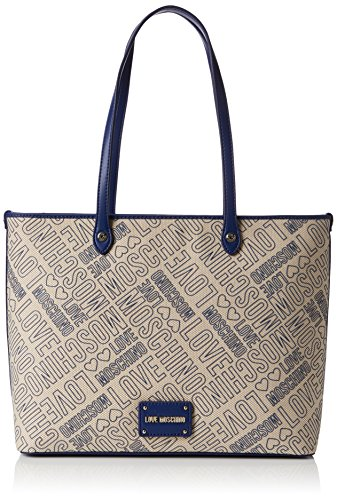 Love Moschino Borsa Canvas Naturale+nappa Pu Blu, Cabas femme, Multicolore (Natural Canvas-black), 11x28x40 cm (B x H T)