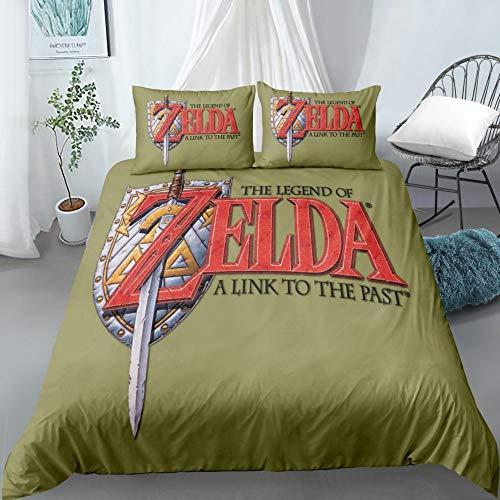 KENEL Fundas para edredón, The Legend of Zelda Funda nórdica Estampada con 2 Fundas de Almohada Juego de sábanas de Microfibra Suave Funda de edredón-# 7_Los 200 * 200cm