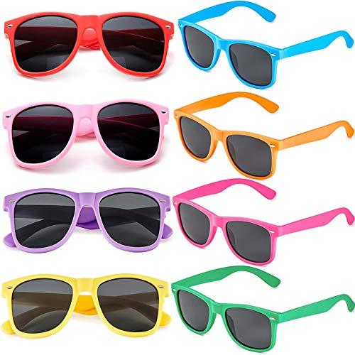 FSMILING 8 Paare Neon Party Sonnenbrille Set 80er Retro Klassisch Partybrillen Für Herren Damen(Bunten)