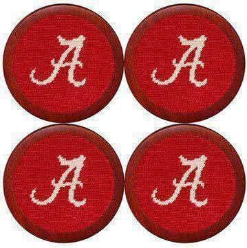 shop Alabama Needlepoint Coasters in Smathers Crimson Branson by Spring new work one after another