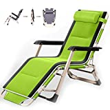 YVX Adjustable Zero Folding Chair Recliner with Cushions Reclining Sun Loungers Heavy Duty Sun Lounger Chairs Office Lunch Break Chair for Outdoor Patio Camping Beach Green
