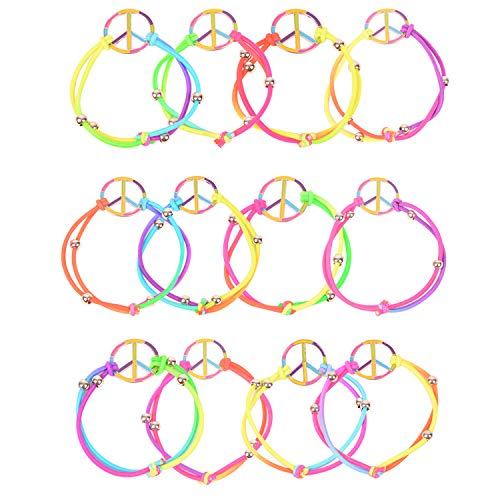 ColorYourLife 12 Pcs Girls Elastic Rainbow Peace Bracelets Girls Party Favors Charms