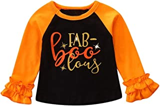 Printing T Shirt Toddler Kids Baby Girl Long Ruched Sleeve Clothes Halloween Tops O-Neck Clothes Outfit