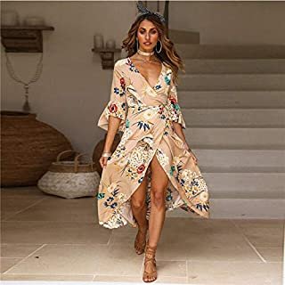 BEESCLOVER Dress Women Summer V Neck Vintage Sexy Long Maxi Floral Split Crossed Flare Sleeves Red Khaki Party Beach Dress