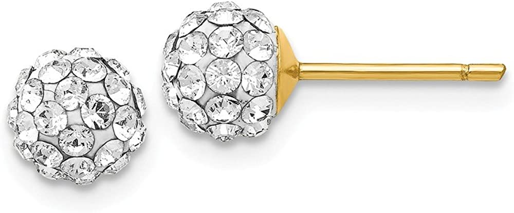 14k Yellow Gold 6mm Round Swarovski Crystal Post Stud Earrings Ball Button Fine Jewelry For Women Gifts For Her