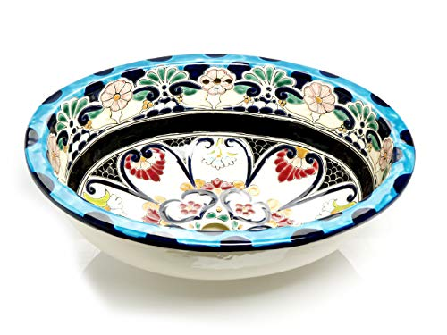 La Reina - Großes Waschbecken in Türkis | Mexikanisches Ovales Waschbecken | Oval Einbauwaschbecken mit Rand | Keramik Talavera Einbau/Unterbau Waschbecken aus Mexiko