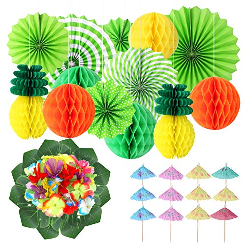 Hicdaw 49PCS Tropical Party Decoration Pineapple Paper Decorations Hang Hibiscus Tropical Palm Leaves for Party Decorations with Hanging Paper Fans Set and Paper Umbrellas