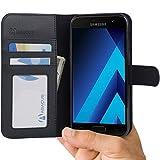 Samsung Galaxy A5 (2017) Funda, Abacus24-7 Funda Flip de Cuero con Soporte Plegable y Bolsillos para Tarjeta - Negro