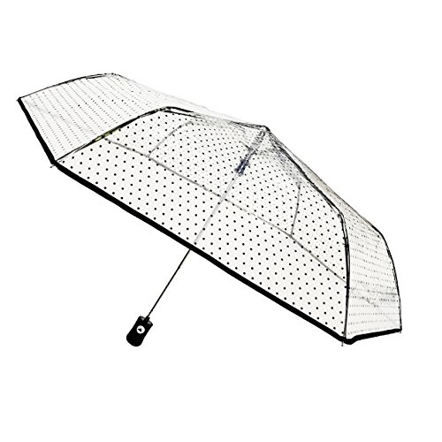 SMATI Paraguas Plegable Transparente con Lunares Negros Compacto Solido y Anti Viento con apuerta automatica.
