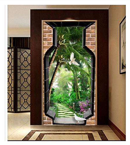 3D Creatief Glas vaas Groene Plant Boom Vogel Duif Deur Sticker DIY Verwijderbare Vinyl Huisdecoratie Woonkamer Slaapkamer Bloemenkamer Art Mural 77x200cm