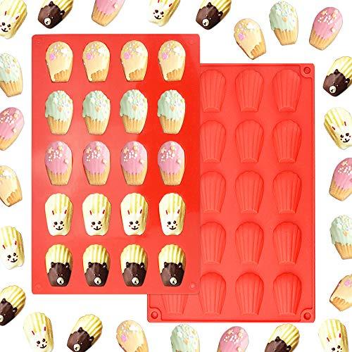 EMAGEREN 2 Stück Silikon Backformen Madeleines Kuchen Formen 20 Hohlräumen Silikonform BPA freie Wiederverwendbare Schokoladenkuchenform für EIS Eiswürfel Pudding Gelee Mini-Kuchen Schokolade