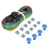 CZC AUTO Trailer Wiring Harness Kit 4-Way Wishbone Style, Y Style 18AWG Pure Copper Core Color Coded Wire with Standard 4-pin Flat Plug Connector, 4' Female and 25' Male for 12V Trailer Boat Marine