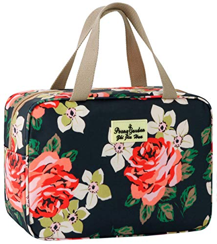 Toiletry Bag for Women Cosmetic Travel Bag Floral Cosmetic Case Large Travel Toiletry Bag for Girls Make Up Bag Navy Blue Brush Bags Reusable Toiletry Bag