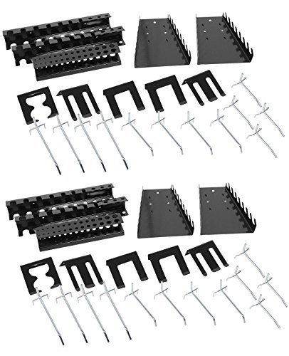 2x Ondis24 Lochwandhaken, je 22 - teilig, Hakensortiment Werkzeuglochwandhaken Metall, je 22 - teilig, grau