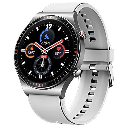 QFSLR Smartwatch Reloj Inteligente con Llamada Bluetooth Monitor De Frecuencia Cardíaca Monitor De Presión Arterial Monitoreo De Oxígeno En Sangre Control De Música,Gris