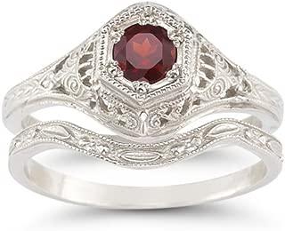 Antique-Style Ruby Wedding Ring Set
