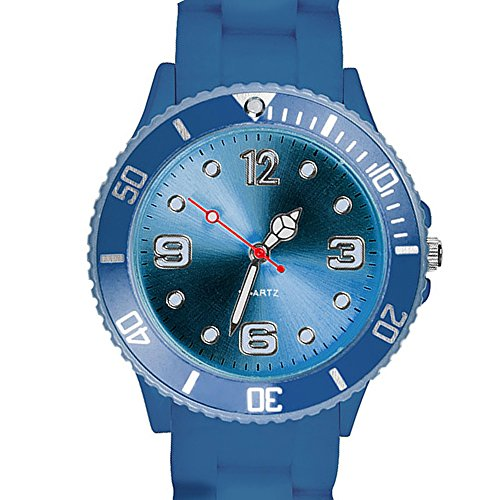 Taffstyle Farbige Sportuhr Armbanduhr Silikon Sport Watch Damen Herren Kinder Analog Quarz Uhr 39mm Marineblau