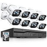 【双方向通話·最新AI人体感知】A-ZONE 500万画素タイプ POE給電カメラ 防犯カメラ 監視カメラ ハイビジョン 2TBHDD内蔵 8ch IP67防水防塵 赤外線 動体検知録画 最大8TB対応(5MP録音カメラ8台+ 2TB HDD)