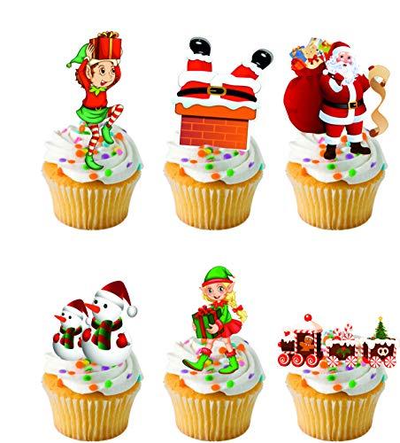 Set di 26 decorazioni per torte in ostia commestibile con Babbo Natale e elfo, pupazzo di neve