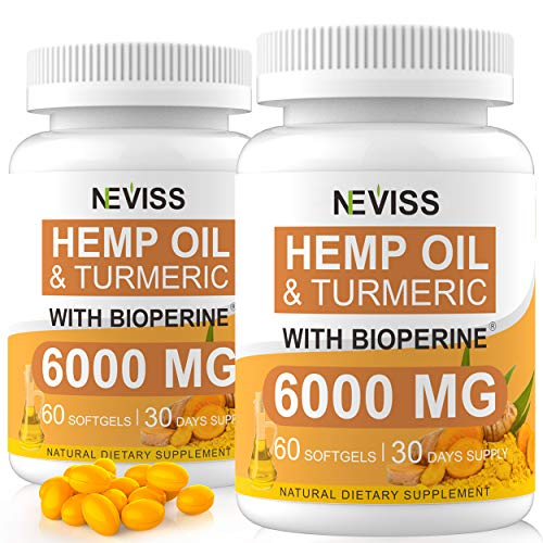 (2-Pack) Hemp Oil Capsule Softgels with Turmeric & Bioperine - 60 Cts